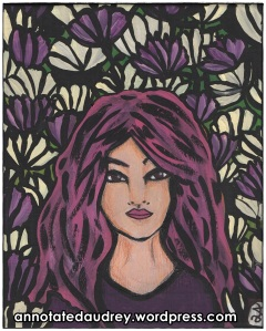 Pink with Purple Flowers. Copyright. Annotated Audrey. 2013 ©