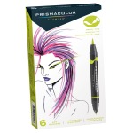 Prismacolor Premier Double Ended Brush Tip and Fine Tip Markers, 6 Colored Markers