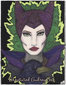 Maleficent and Diablo. Copyright. Annotated Audrey. 2014 ©