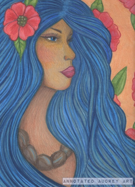 The completed colored pencil painting.