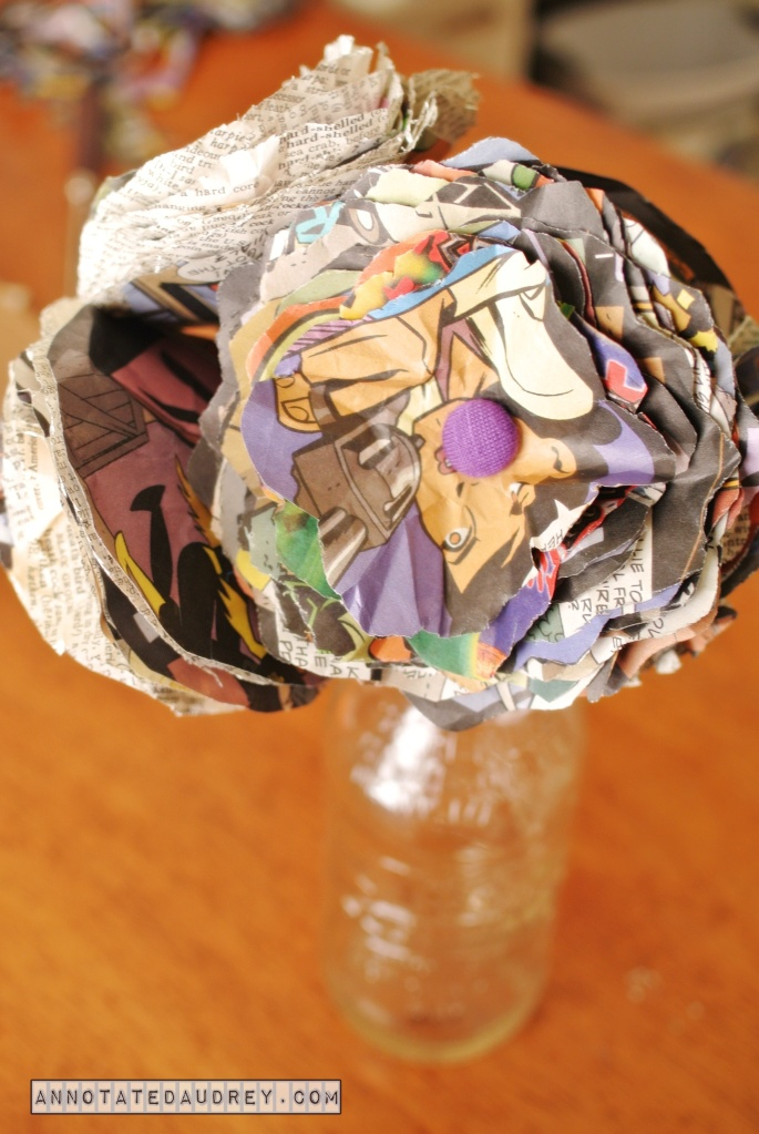 Comic Book Flowers by Annotated Audrey  #annotatedaudrey #nerdycrafts
