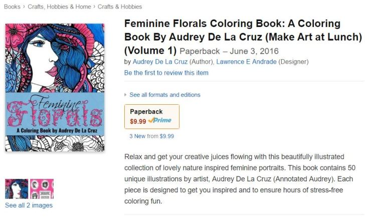 Feminine Florals Coloring Book on Amazon