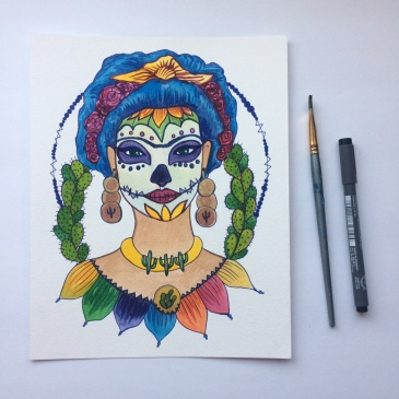 Candy Skull Frida by Audrey De La Cruz
