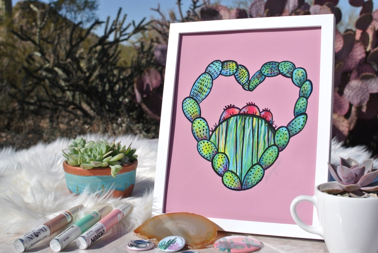 Cactus Love by Audrey De La Cruz. (© 2018 Annotated Audrey Art)