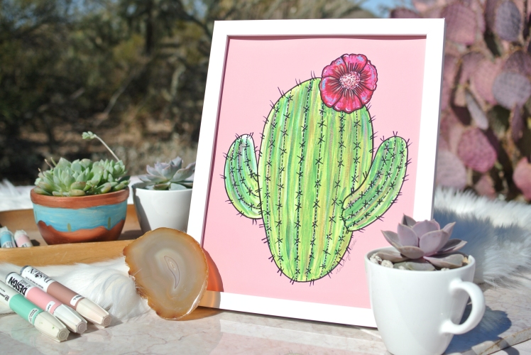 Cute Blooming Saguaro by Audrey De La Cruz. (© 2018 Annotated Audrey Art)