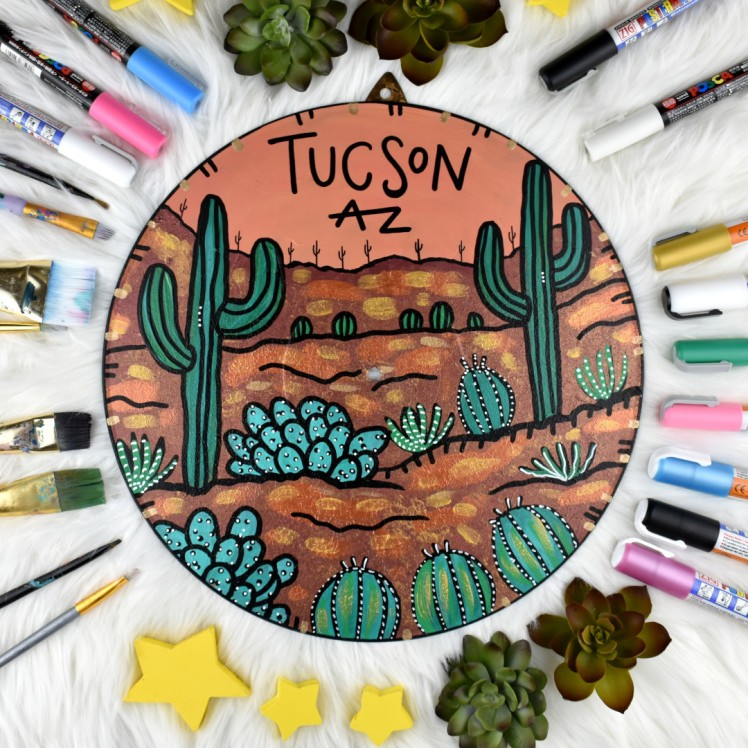 Tucson AZ Record Painting by Audrey De la Cruz Annotated Audrey